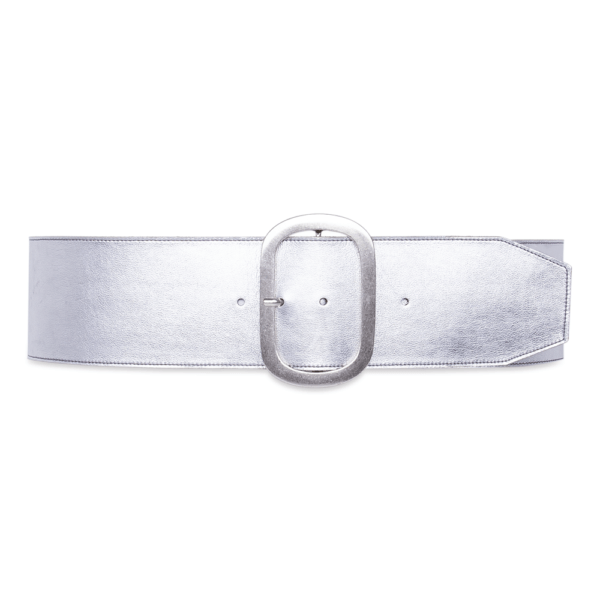 belt over geometric details silver belt closed