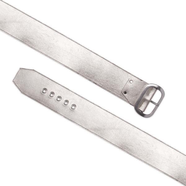 Platinum belt open eyelet over belt