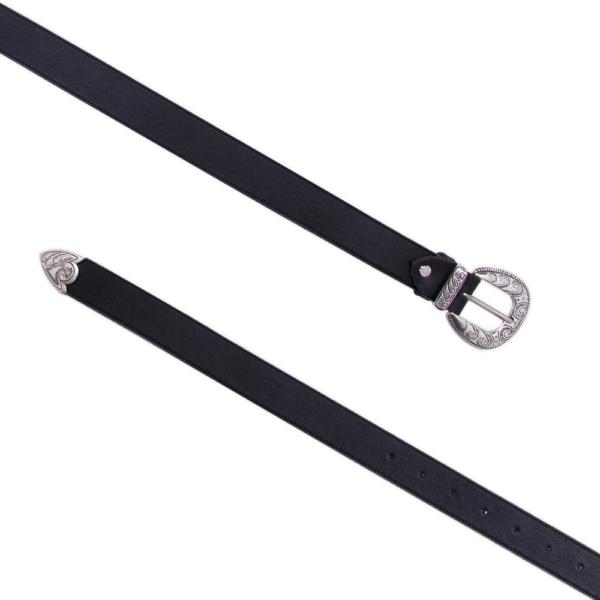 Cintura single west Nera e argento 030 aperta