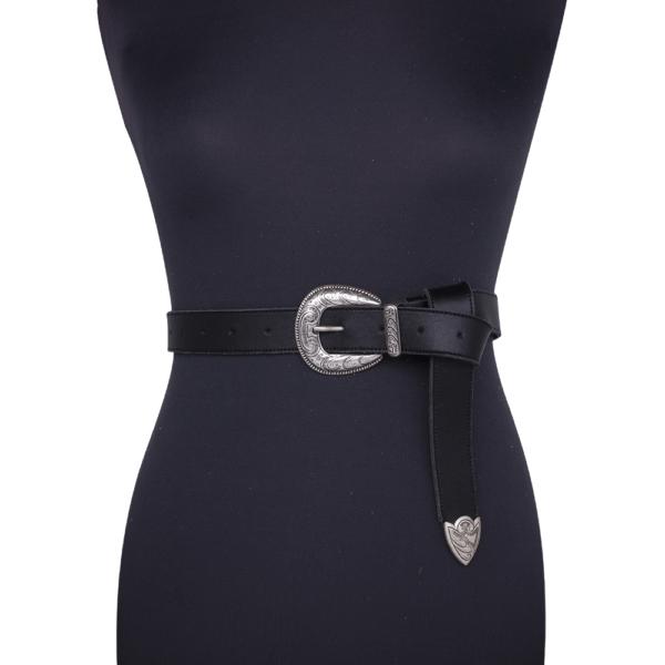 Cintura single west Nera e argento 030 su manichino